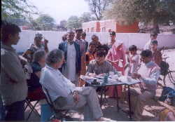 Patients attending mobile hospital