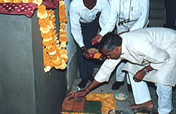 Laying the foundation stone for the Women's Hospital