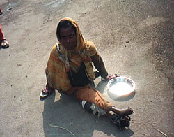 Street woman with disability